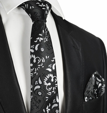 Black and White Formal Tie and Pocket Square
