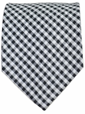 Black and White Gingham Cotton Tie by Paul Malone