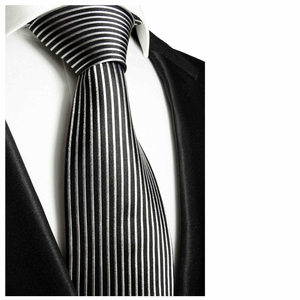Black and Silver Paul Malone Neck Tie, 100% Silk