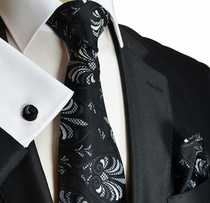 Black and White Silk Tie by Paul Malone