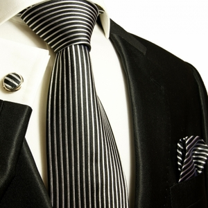 Black and Silver Striped Paul Malone Silk Tie Set