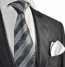 Black and White Tie with Rolled Contrast Pocket Square Set