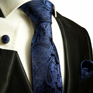 Black & Blue Paisley Paul Malone Silk Tie Set (518CH)
