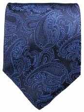 Black & Blue Paisley Silk Tie by Paul Malone (518)