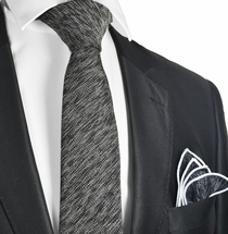 Black Cotton Tie Set by Paul Malone
