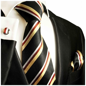 Black, Gold and Red Striped Silk Tie Set by Paul Malone