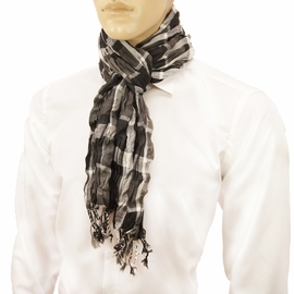 Black, Grey, White Men's Cotton Crinkle Scarf by Paul Malone