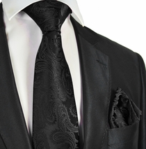 Black Paisley Men's Tie and Pocket Square