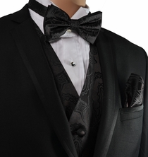 Black Paisley Vest and Bow Tie Set by Paul Malone