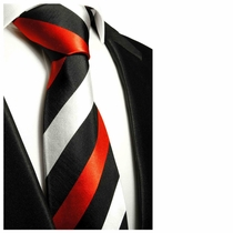Black, Red & Silver Neck Tie by Paul Malone, Stripes (410)