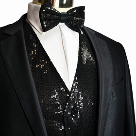 Black Sequin Tuxedo Vest and Bow Tie