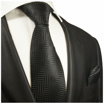 01c3228800c3 Black Silk Tie and Pocket Square . Paul Malone