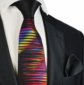 Black Steven Land Big Knot Silk Tie and Pocket Square