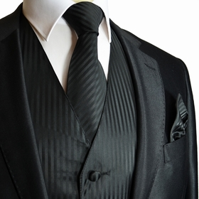 Black Striped Tuxedo Vest, Tie and Pocket Square