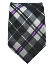 Black, White, Purple Slim Silk Tie by Paul Malone