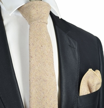 Bleached Sand Wool Tie Set by Paul Malone