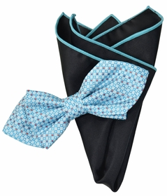 Blue and Black Bow Tie Set with Rolled Bordered Pocket Square