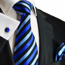 Blue and Black Paul Malone Silk Necktie Set (881CH)