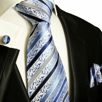 Blue and Black Silk Necktie, Pocket Square & Cufflinks by Paul Malone (718CH)
