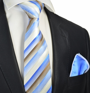 Blue and Brown Striped Tie and Pocket Square Set