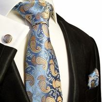 Blue and Gold Paisley Silk Tie Set by Paul Malone