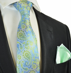 Blue and Green Paisley Tie with Contrast Rolled Pocket Square Set
