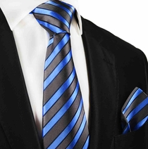 Blue and Grey Silk Tie and Pocket Square by Paul Malone