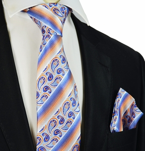 Blue and Orange Silk Tie Set by Paul Malone