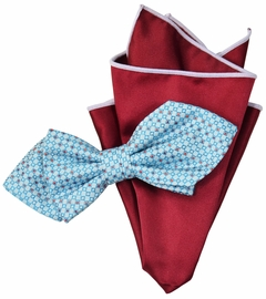Blue and Red Bow Tie Set with Rolled Bordered Pocket Square