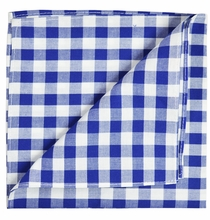 Blue and White Cotton Pocket Square by Paul Malone
