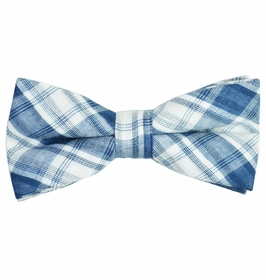 Blue and White Linen/Cotton Bow Tie by Paul Malone