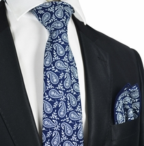 Blue and White Paisley Cotton Tie Set by Paul Malone
