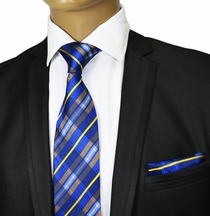 Blue and Yellow Plaids Silk Tie Set by Paul Malone