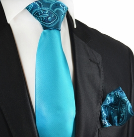Blue Atoll Conrast Tie and Pocket Square by Paul Malone