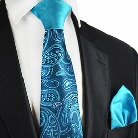 Blue Atoll Paisley Contrast Knot Tie Set by Paul Malone