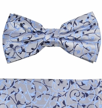 Blue Bow Tie and Pocket Square by Paul Malone (BT907H)