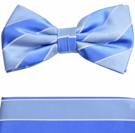 Blue Bow Tie and Pocket Square Set by Paul Malone (BT763H)