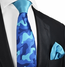 Blue Camouflage Contrast Knot Tie Set by Paul Malone