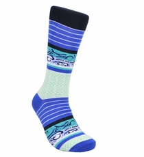 Blue Cotton Dress Socks by Paul Malone