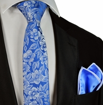 Blue Floral Slim Tie and Pocket Square by Paul Malone