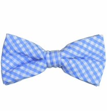 Blue Gingham Cotton Bow Tie