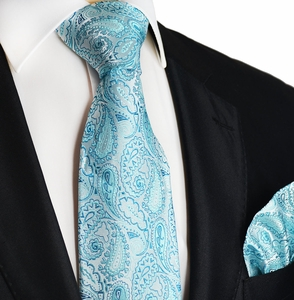 Blue Glass Paisley Silk Tie and Pocket Square Set by Paul Malone