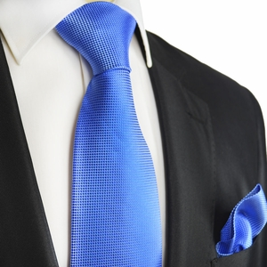 Blue Microchecked Silk Tie and Pocket Square by Paul Malone