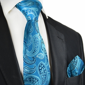 Blue Moon Paisley Silk Tie Set by Paul Malone