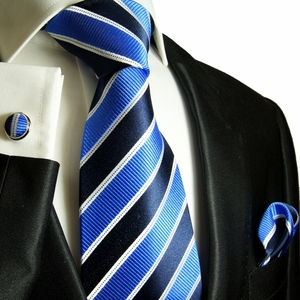 Blue, Navy and White Paul Malone Silk Tie Set (454CH)