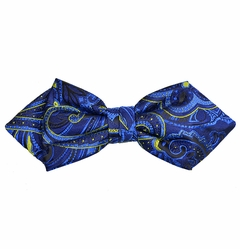 Blue Paisley Silk Bow Tie by Paul Malone Red Line