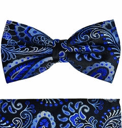 Blue Paisley Silk Bow Tie Set by Paul Malone