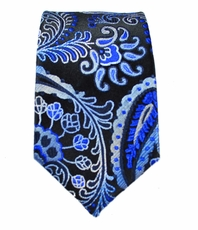 Blue Paisley Slim Tie by Paul Malone . 100% Silk