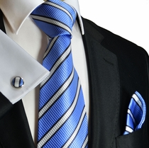 Blue Paul Malone Silk Tie Set (241CH)