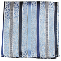 Blue Pocket Square . 100% Silk (H718)